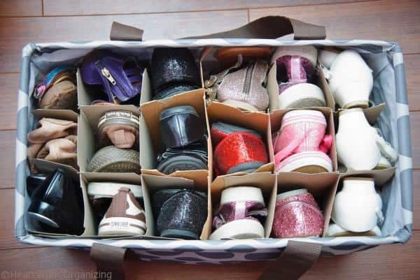 use wine case dividers to organize shoes