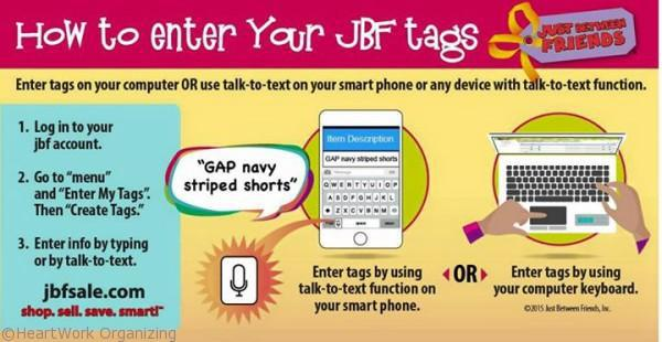 use voice to text to tag for JBF sale