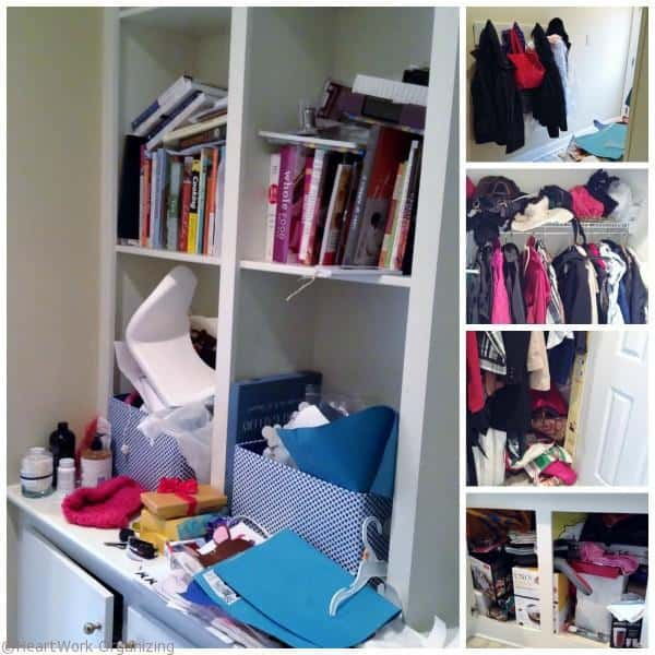 disorganized mudroom before decluttering