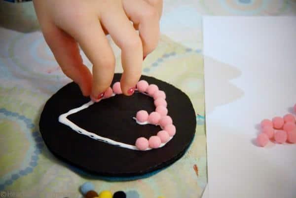 Valentine's Day Craft- pompom coaster (11)