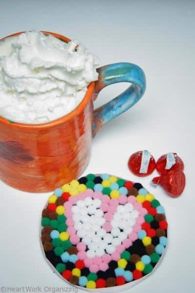 finished Valentine's Day kid craft- pompom coaster