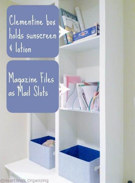 tips for paper in mudroom organizing