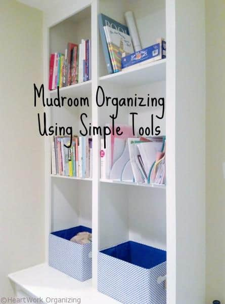 organize the mudroom with things you have on hand
