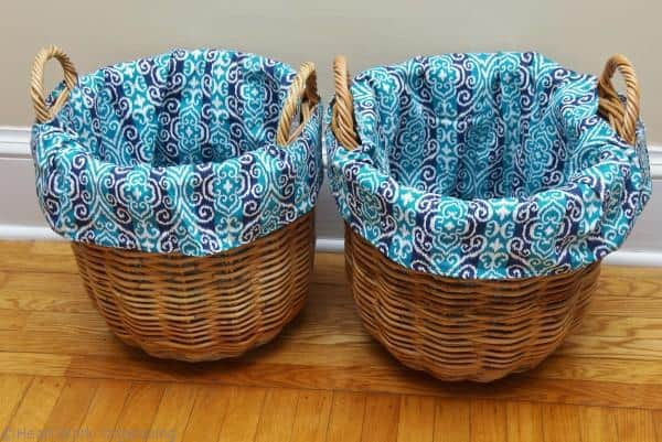 finished DIY basket liners for round baskets