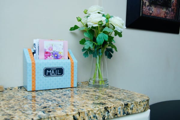 organizing with a DIY mail station