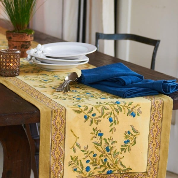 Wayfair olive green and yellow table runner