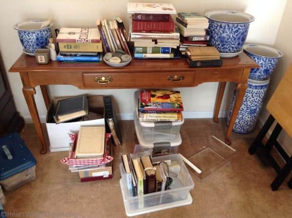 organizing books with containers 3 ways