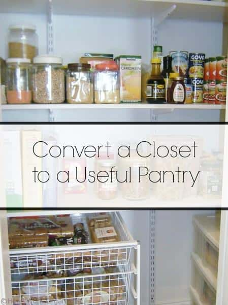 Organize by converting a closet to a pantry