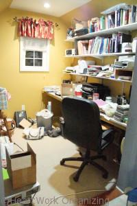 cluttered small business home office