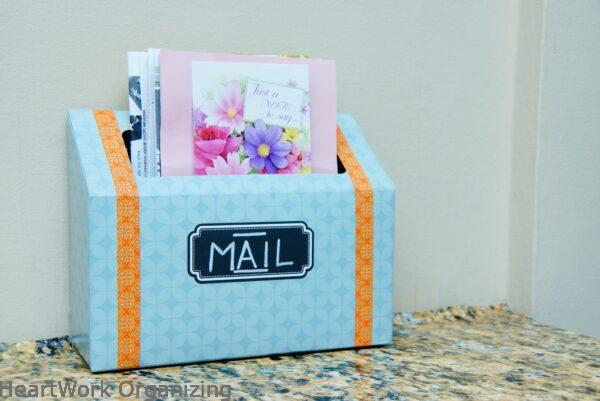 Mail Station from Kleenex Box by HeartWork Organizing