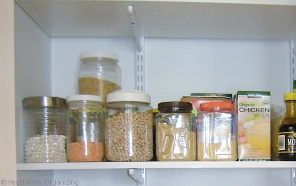 clear containers hold dry goods