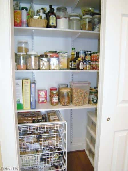 organized pantry with adjustable shelves