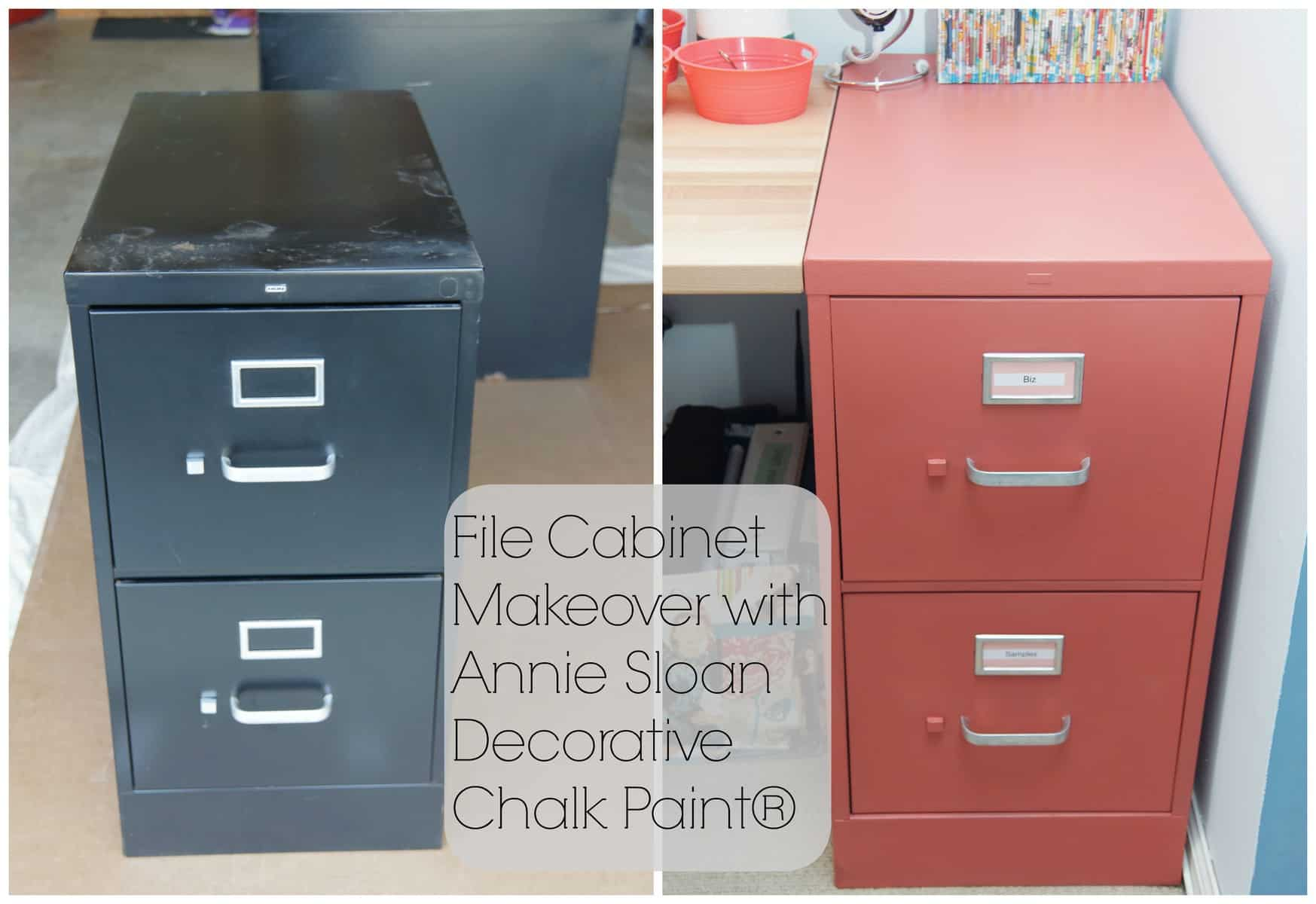 Painted File Cabinet  Home Office Makeover In Coral And Blue