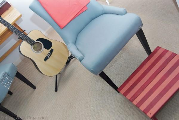 Footstool in Home Office Makeover in Coral and Blue