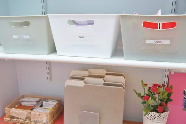 organization for Home Office Makeover in Coral and Blue