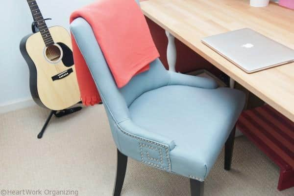 chairs for Home Office Makeover in Coral and Blue