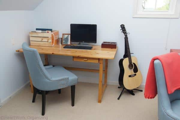 2 person office- Home Office Makeover in Coral and Blue
