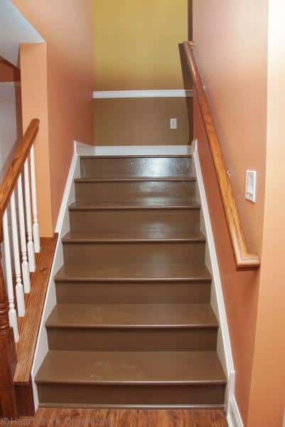 painted stairs waiting for Tuscan Tile stencil design