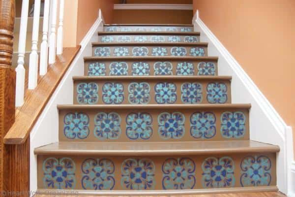 after- Tuscan Tile stencil design from Royal Design Studios