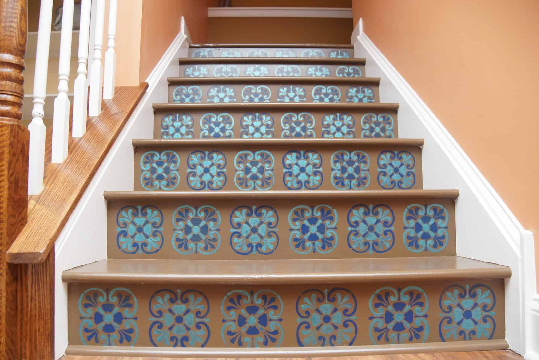 Stair Riser Stencil With Tuscan Tile Design Heartwork