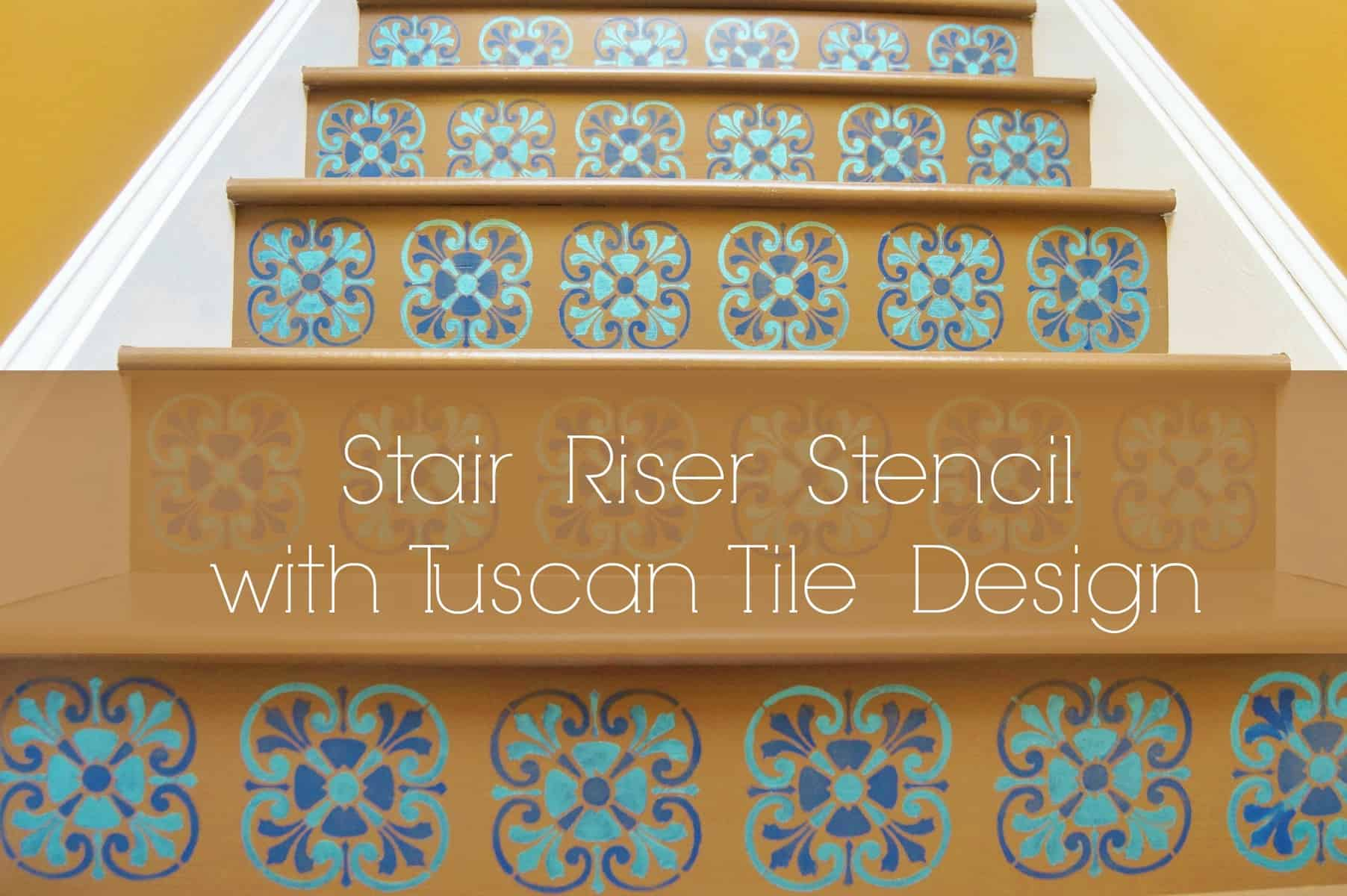 Tuscan Tile Stencil Design On Stairs Le