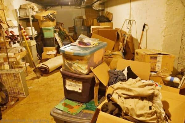 basement clutter before