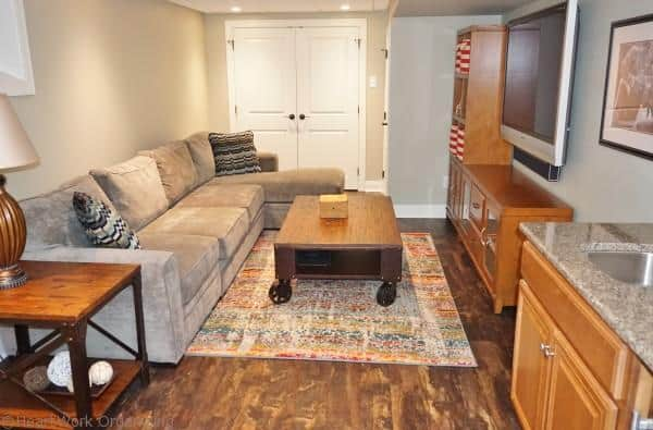 basement sofa and living area