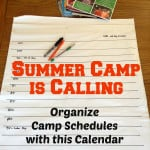 Summer Camp is Calling- Organize with this Free Printable Camp Calendar