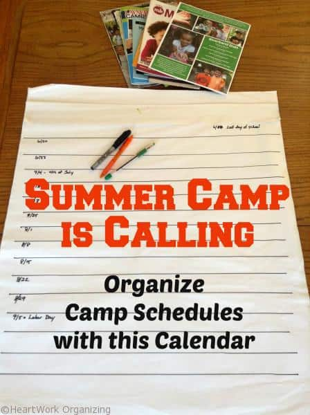 Organizing summer camp calendars