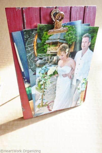 fan photos on a clip frame for cute hostess gift