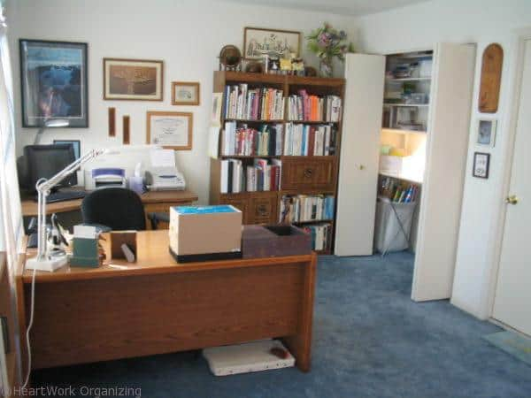 Home office with a happy blue wall heartwork organizing for Redesign your office