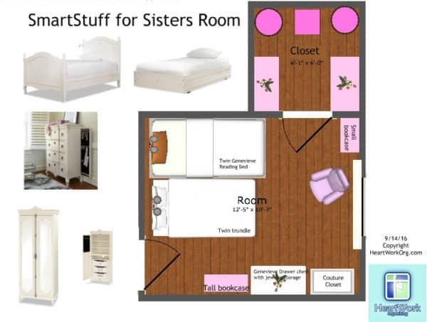 space plan for sisters who share a room