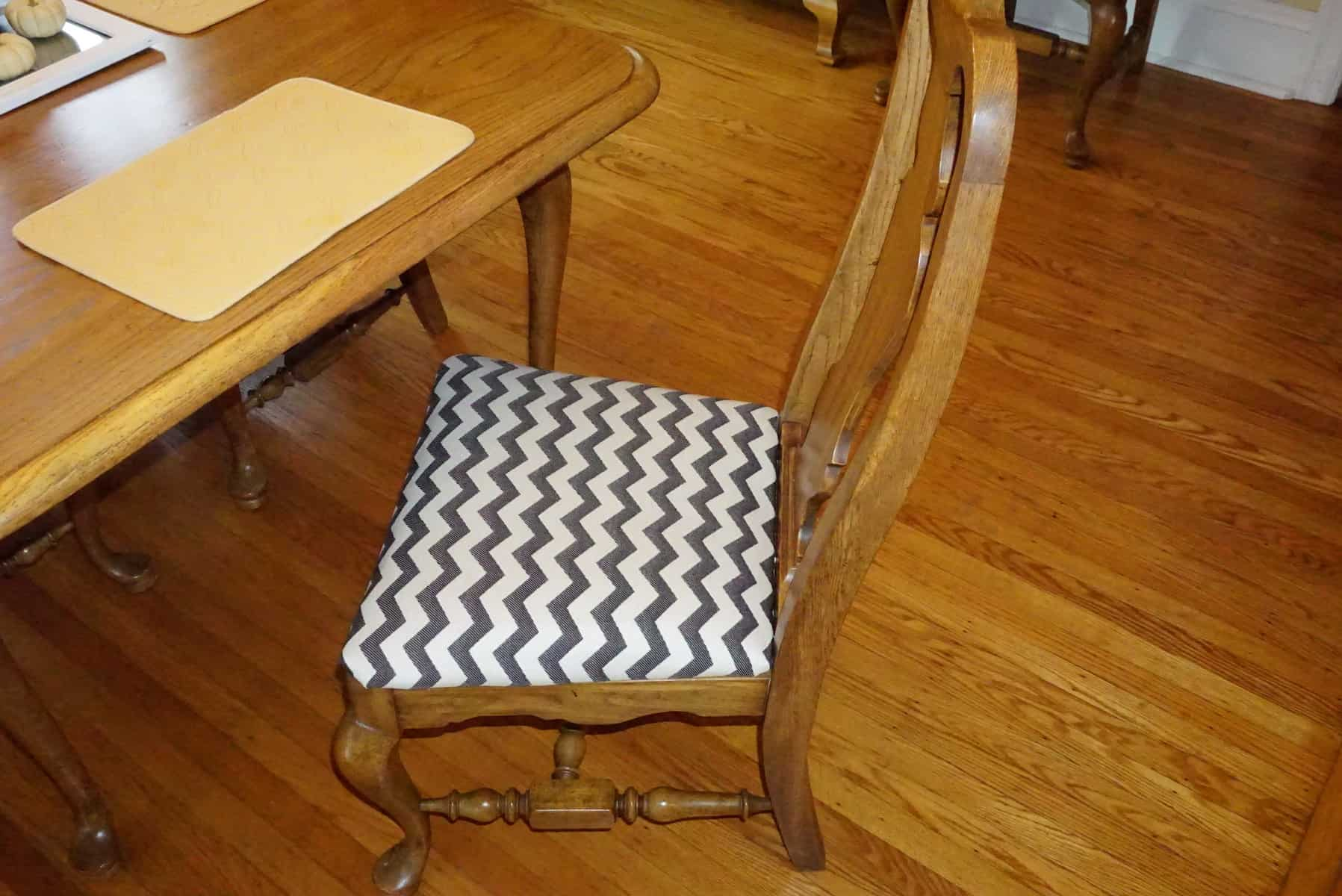 Finished Reupholstered Dining Chair Seat Cushion