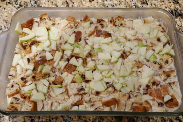 before baking Christmas morning French Toast casserole