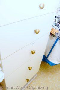 drawers in a linen closet
