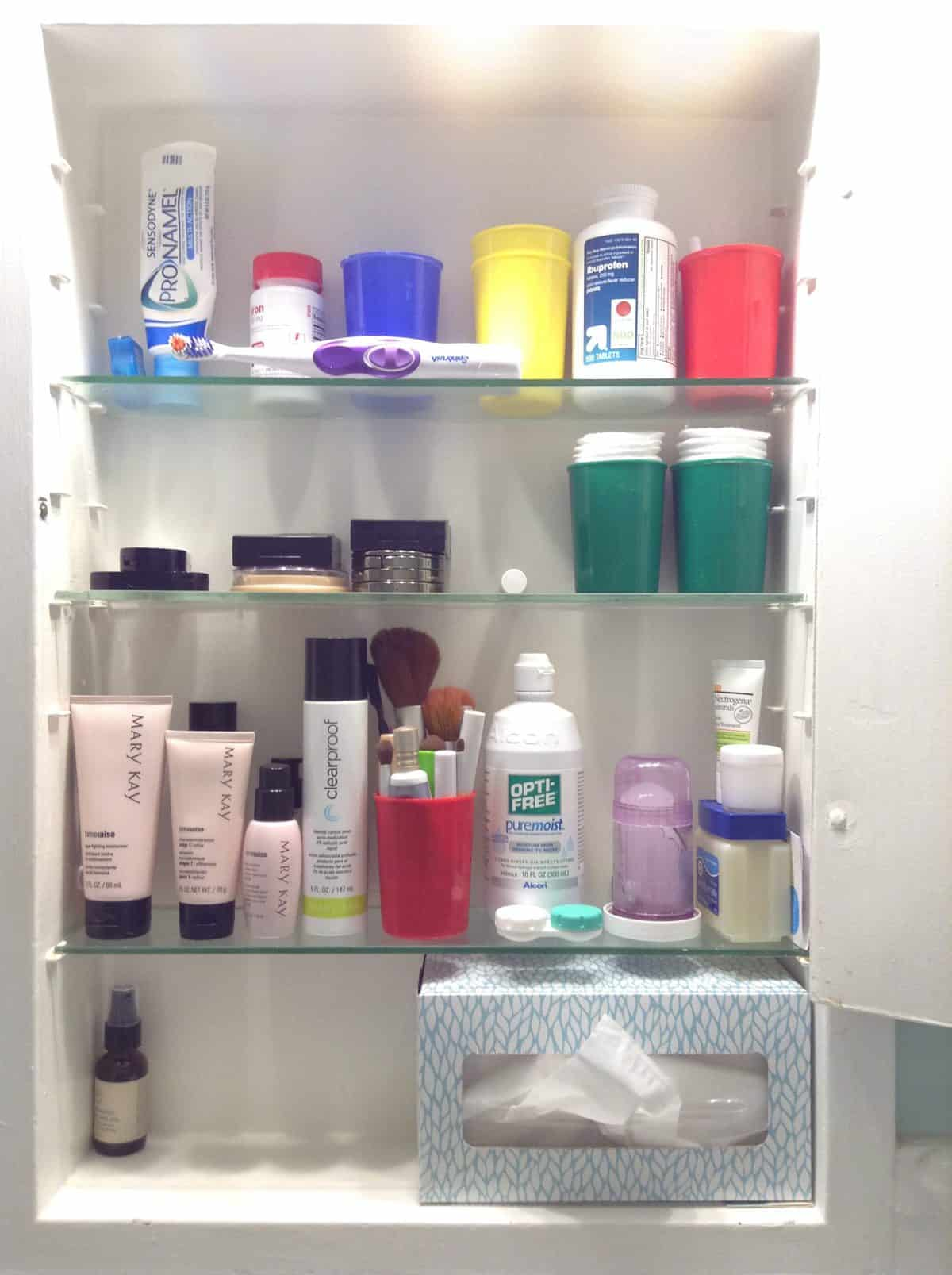 Bathroom Medicine Cabinet  Organizing, Before