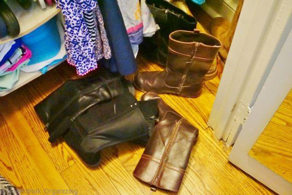 messy boots need organizing
