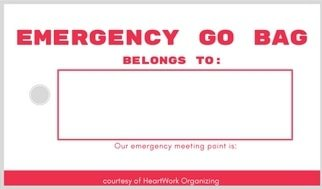 printable tag for your emergency GO kit