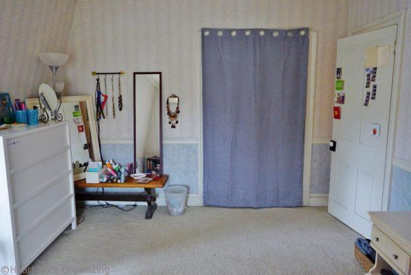 curtain over door, removed bypass doors
