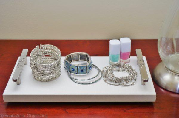 Marble tray DIY upcycle to display jewelry