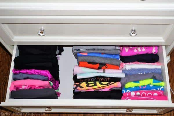 fold then file shirts to organize your home