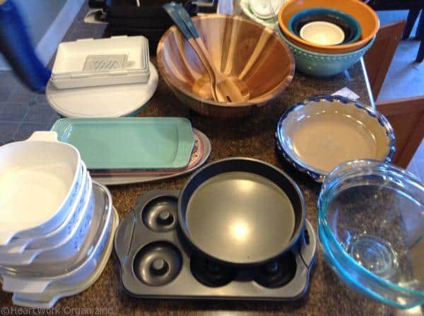 purging and organizing kitchen cabinet