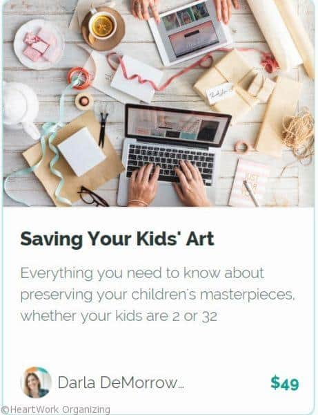Organizing and Saving Kids Art online course