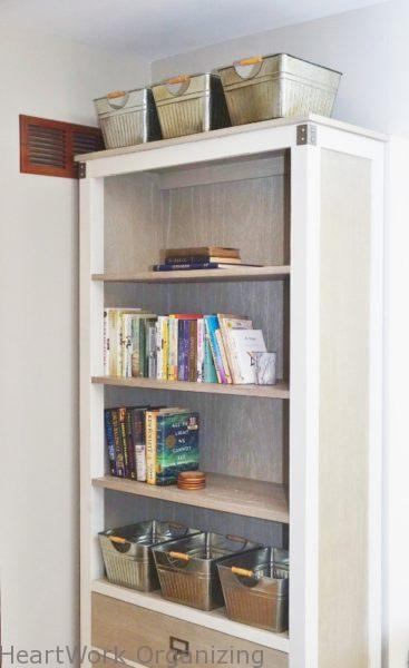 Serene Home Office for Two, bookcase
