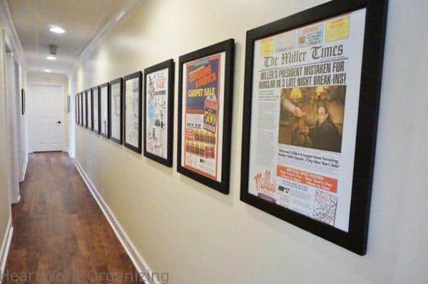 100 years of company ads in newspapers preserved and displayed