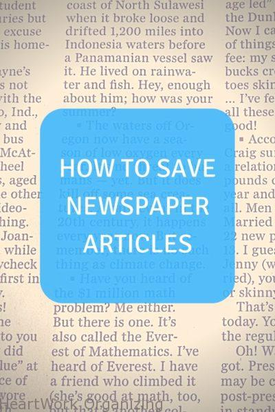 How to Save Newspaper Articles