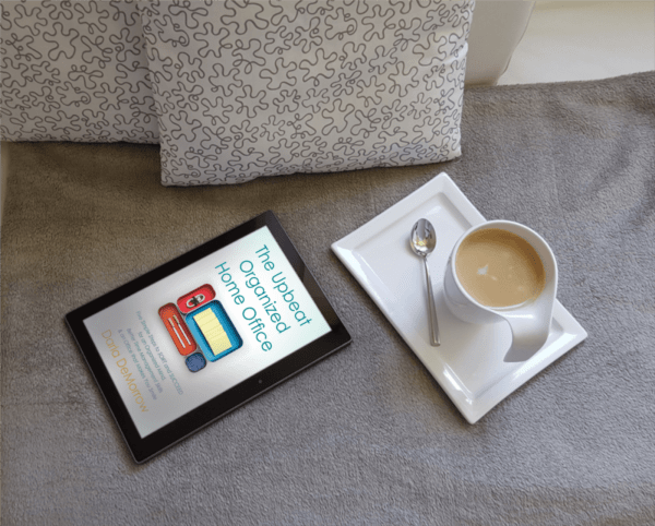 Upbeat Organized Home Office book bright with coffee cup