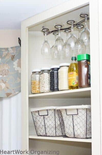 wine hanger ceiling-mounted in cabinet