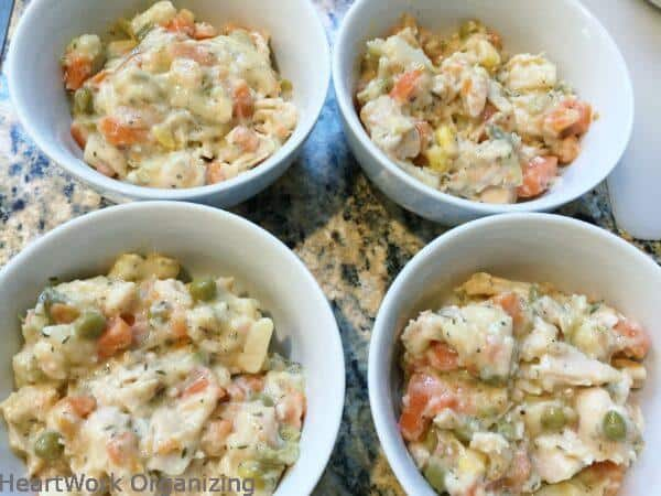 quick and easy chicken pot pies in bowls