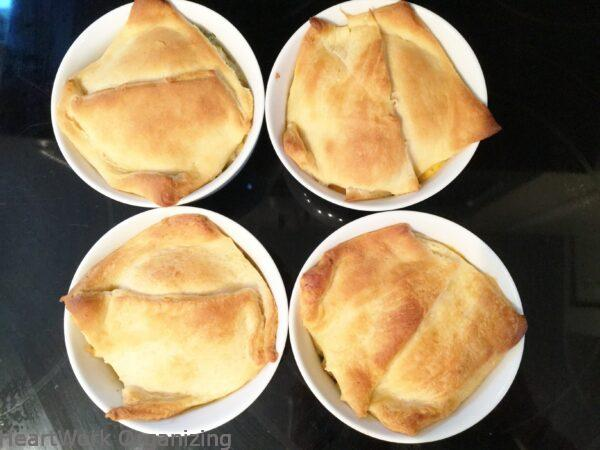 quick and easy chicken pot pies golden brown